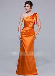 trumpet mermaid one shoulder floor length charmeuse bridesmaid