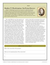 booker t washington up from slavery black history month worksheets