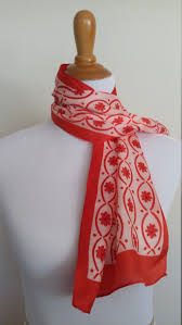 block print scarf red and white scarf floral scarf 70 u0027s scarf