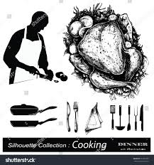 dinner silhouette chef silhouette collection hand drawn illustration stock vector