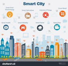 stock vector smart city concept with different icon and elements
