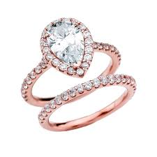 diamond rings zirconia images Cubic zirconia pear shape solitaire elegant rose gold engagement jpg