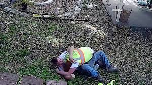 caught on camera backyard brawl between two cable guys called