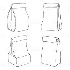 various lunch bags and lunch boxes sketch hand drawn vector stock