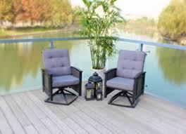 amazon com set of 2 swivel aluminum wicker patio chairs with
