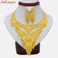 wedding necklace gifts images Adixyn 2018 arab dubai party necklace earrings jewelry set gold jpg