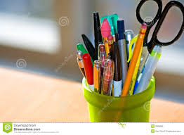 pen and pencil holder on desk stock photography image 2060092