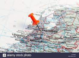 Map Of Amsterdam Red Map Pin Pointing On Map To The City Of Amsterdam Stock Photo