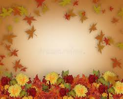 thanksgiving fall leaves and flowers border design stock