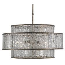 Grey Glass Chandelier Encircled Mercury Glass Chandelier Shades Of Light