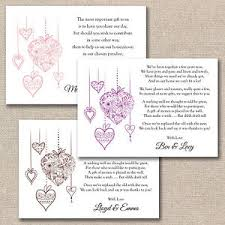 wedding gift poems 50 x diy floral hearts wedding poem cards for your invitations