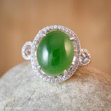 jade engagement ring diamond halo setting aaa grade jade ring engagement ring