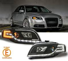 audi headlights r8 style drl black projector headlights w led turn signal lamps