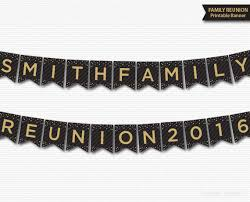 family reunion banner printable personalized customized black gold