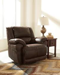 Contemporary Recliners Furniture Brown Leather Rocking Recliner Decor With Pattern Rugs