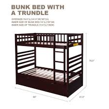 Espresso Twin Trundle Bed Bunk Bed Twin Over Twin With Trundle Bed And End Ladder In Espresso