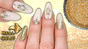 real 24ct gold nails luxe matte gold glitter crystal