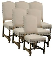 Linen Dining Chair 6 New Dining Chairs Spanish Style Wood Frame Linen Fabric