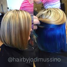 short hairstyles with peekaboo purple layer love this peekaboo blue highlights on top and vibrant blue on the