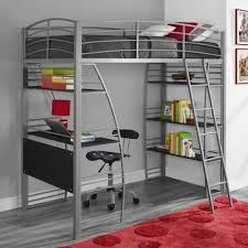 Bedroom Stylish Twin Loft Bunk Bed Ladder Storage Shelves Desk - Metal bunk bed ladder