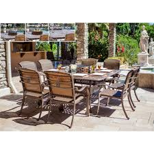 metzaluna 10 piece dining set with wood burning fire pit and ice