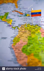 Venezuela Map Flag Pin Placed On World Map In The Capital Of Venezuela Caracus