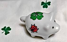 white green and red lady bug and 4 leaf clover pig ceramic