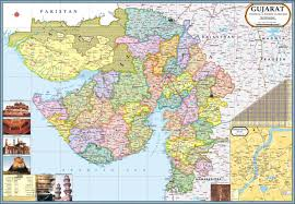 gujarat map political paper print maps posters in india buy
