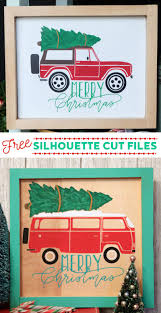 christmas bronco and camper van silhouette cut file silhouettes