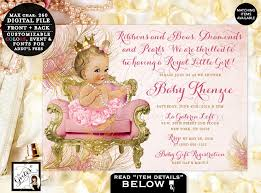 royal princess baby shower theme blush pink and gold royal princess baby shower invitations