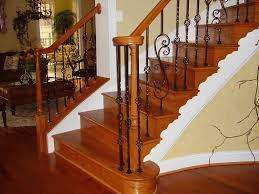 interior beautiful varnished wooden railing star design