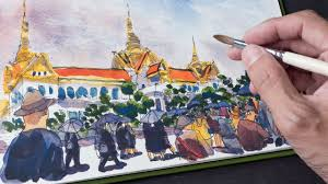 thai grand palace sketch timelapse youtube