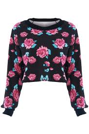 red roses print black sweatshirt the latest street fashion