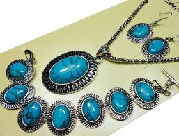 turquoise stone necklace set images Turquoise stone jewelry set necklace pendant earring joan jpg