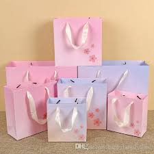 pink gift bags gift bag fashion flower paper kraft gift bags festival supplies 3