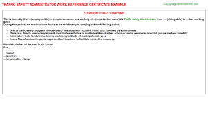 Sample Accounting Resume No Experience by Traffic Safety Administrator Work Experience Certificate