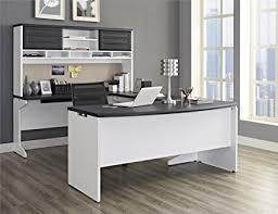 u shaped workstation desks amazon com ameriwood home pursuit u shaped desk with hutch bundle