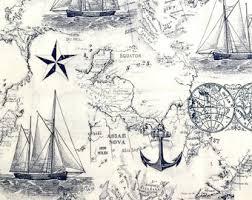 africa map fabric nautical map etsy
