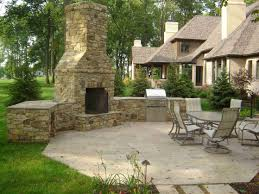 Backyard Flagstone Patio Ideas by Outdoor Kitchen And Fireplace Kitchen Decor Design Ideas