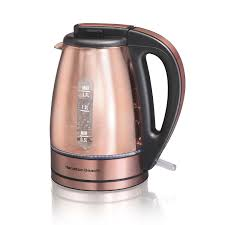 hamilton beach glass u0026 stainless steel with copper finish kettle