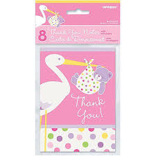baby shower thank you notes pink stork baby shower thank you notes 8pk walmart