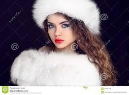 beautiful in fur coat and hat stock photo image 81820199