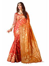 golden orange color orange with golden color cotton silk indian wedding designer saress