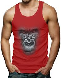 amazon com big 3d gorilla face men u0027s tank top t shirt clothing