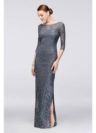 Alex Evenings Cold Shoulder Draped Gown 3 4 Sleeve Sequined Lace Column Dress With V Back David U0027s Bridal