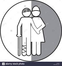 grayscale circular frame shading with pictogram nurse with