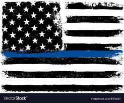 Blue And Black Striped Flag American Flag With Thin Blue Line Grunge Aged Vector Image