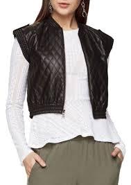 leather vest bcbg max azria bcbgmaxazria ace quilted faux leather vest casual