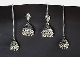 jhumka earrings with chain traditional jhumka earrings indian chain earring indianroute on