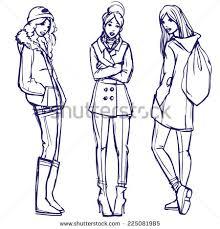 hand drawn fashion young women stylish stock vector 563293051
